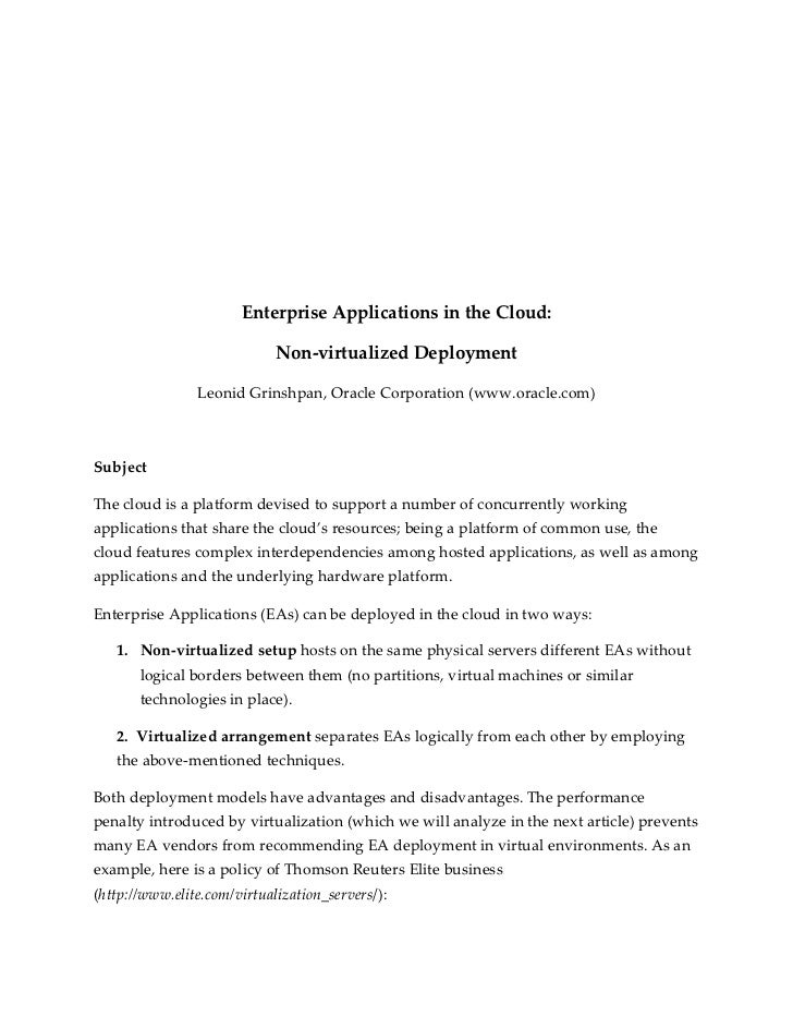 Enterprise Applications in the Cloud:                             Non-virtualized Deployment                Leonid Grinshp...