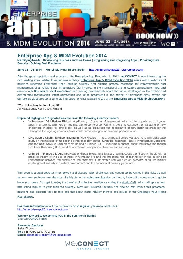 Enterprise App & MDM Evolution 2014 Identifying Needs | Developing Business and Use Cases | Programing and Integrating App...