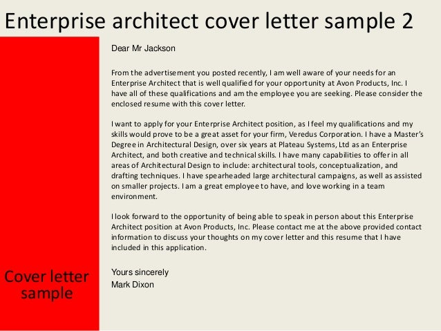 Enterprise architect cover letter