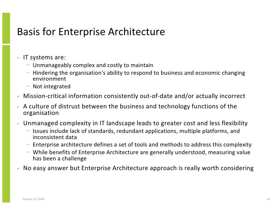 ... 10. Basis For Enterprise Architecture ...