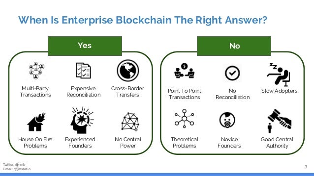 Why Blockchain Is Magical 4 ● Distributed ● Consensus-Based ● Trustless ● Immutable ● Tokenized ● Buzzy Twitter: @rmb Emai...
