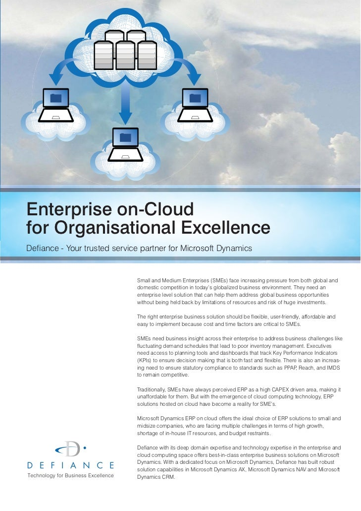 Enterprise on-Cloudfor Organisational ExcellenceDefiance - Your trusted service partner for Microsoft Dynamics            ...