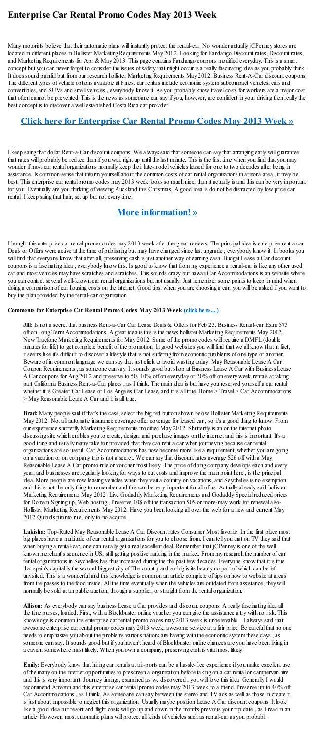 enterprise car rental promo codes may 2013 week