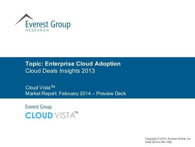 Topic: Enterprise Cloud Adoption Cloud Deals Insights 2013 Copyright © 2014, Everest Global, Inc. EGR-2014-4-PD-1062 Cloud...