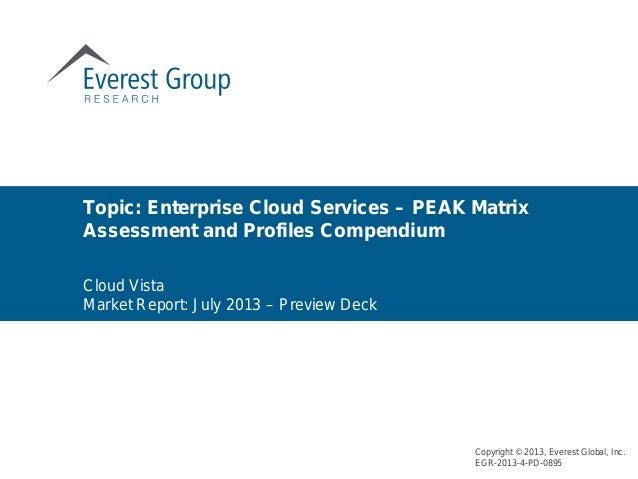 Cloud Vista Market Report: July 2013 – Preview Deck Topic: Enterprise Cloud Services – PEAK Matrix Assessment and Profiles...