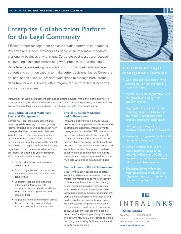 solutions intralinks for legal ManageMent     Enterprise Collaboration Platform for the Legal Community Efficient matter m...