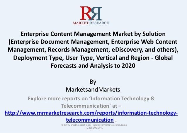 Enterprise Content Management Market by Solution (Enterprise Document Management, Enterprise Web Content Management, Recor...