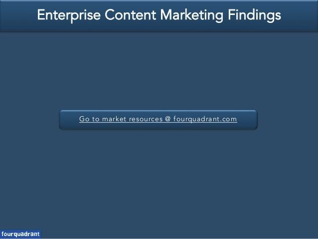 Go to market resources @ fourquadrant.com Enterprise Content Marketing Findings