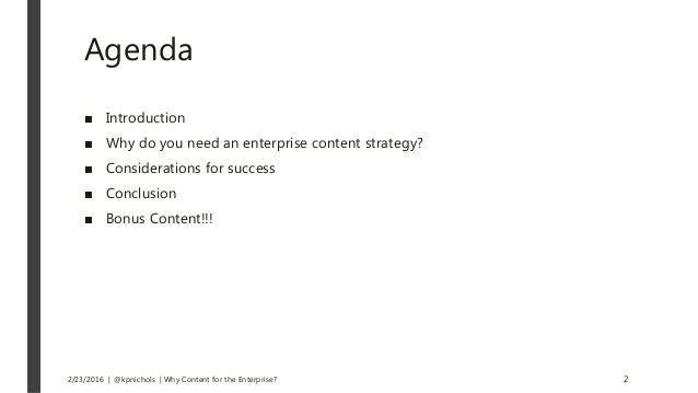 Why Content For the Enterprise? Slide 2