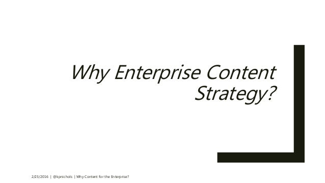 Why Content For the Enterprise?