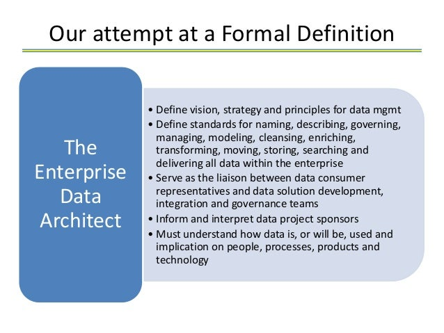 Enterprise data architect job description for Define architect