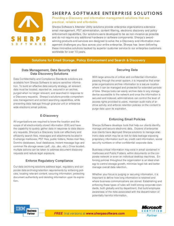 SHERPA SOFTWARE ENTERPRISE SOLUTIONS                                   Providing e-Discovery and information management so...