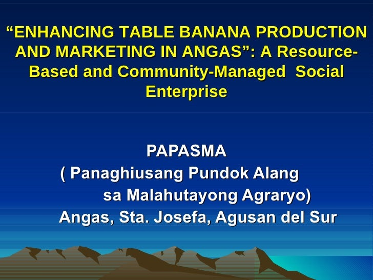 """ ENHANCING TABLE BANANA PRODUCTION AND MARKETING IN ANGAS"": A Resource-Based and Community-Managed  Social Enterprise PAP..."