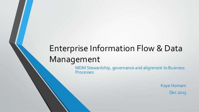 Enterprise Information Flow & Data Management MDM Stewardship, governance and alignment to Business Processes Kaye Homam D...