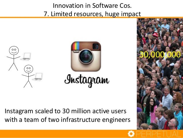 Instagram scaled to 30 million active users with a team of two infrastructure engineers Innovation in Software Cos. 7. Lim...