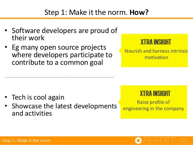 • Software developers are proud of their work • Eg many open source projects where developers participate to contribute to...