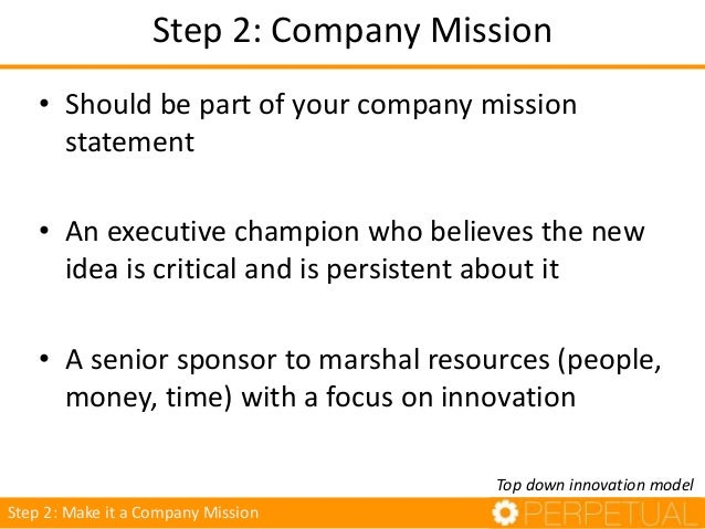Step 2: Company Mission • A small number of ambitious projects vetted by organizational top layers • There should be a mix...