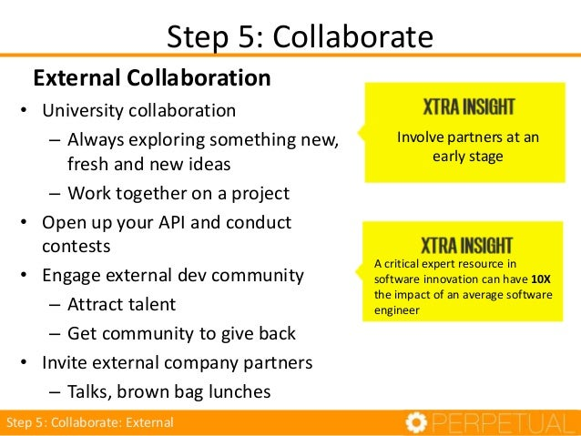 7 Steps 1. Make it the norm 2. Make it a company mission 3. Create an innovation culture 4. Experiment 5. Collaborate 6. E...