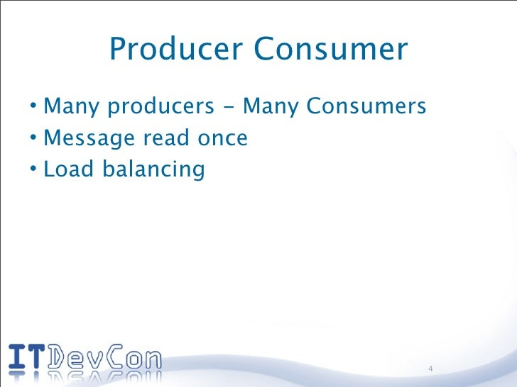 Producer Consumer • Many producers - Many Consumers • Message read once • Load balancing                                  ...