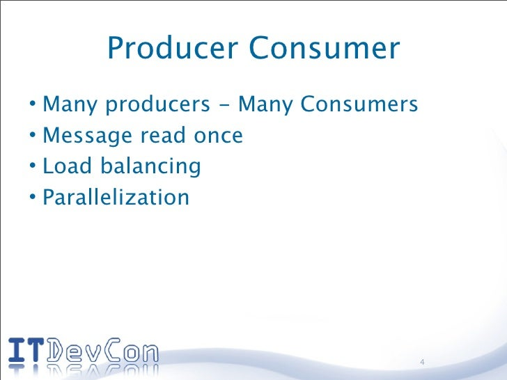 Producer Consumer • Many producers - Many Consumers • Message read once • Load balancing • Parallelization                ...