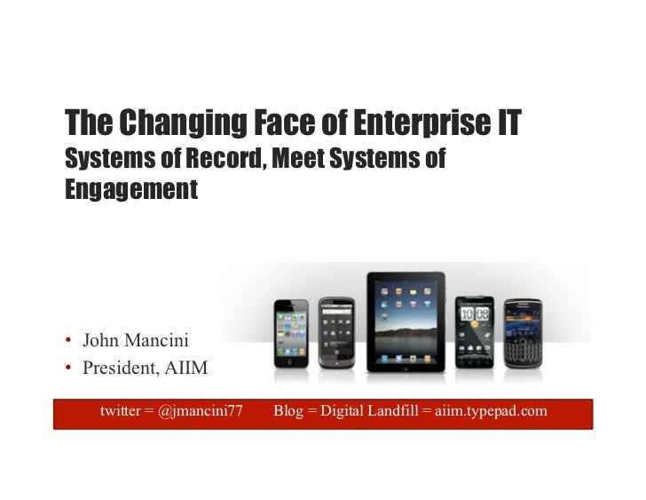 The Changing Face of Enterprise ITSystems of Record, Meet Systems ofEngagement•  John Mancini•  President, AIIM    twitter...