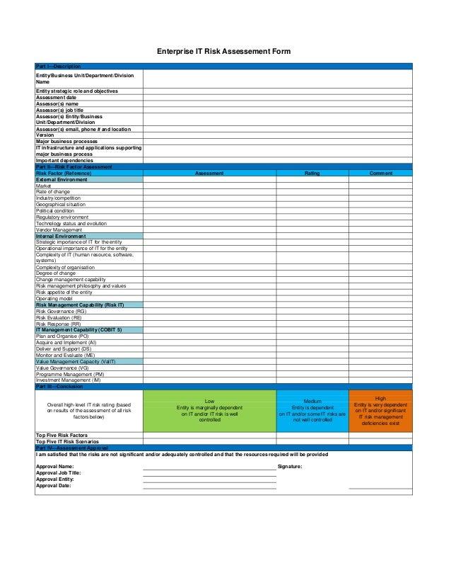 Enterprise Information Technology Risk Assessment Form