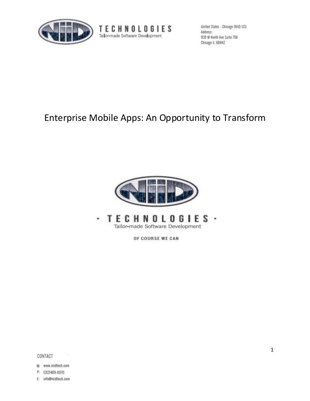 Enterprise Mobile Apps: An Opportunity to Transform  1