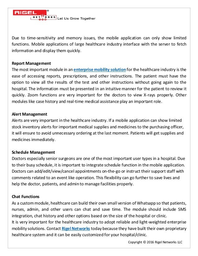 Enterprise Mobility Solutions for Healthcare Sector – Things you must know Slide 2