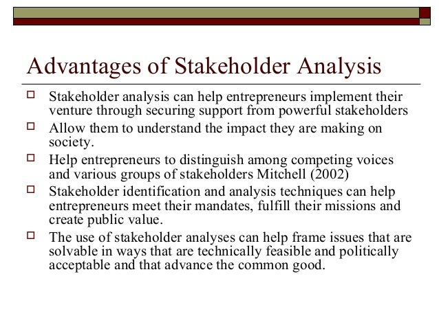 advantages of stakeholder analysis
