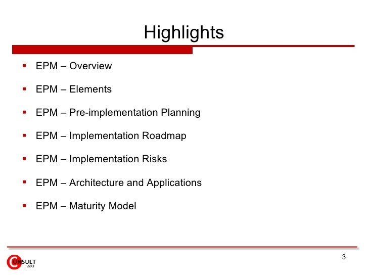 Enterprise Performance Management (EPM) Slide 3
