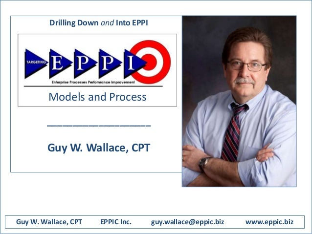 Drilling Down and Into EPPI Enterprise Process Performance Improvement ____________________ Guy W. Wallace, CPT Guy W. Wal...