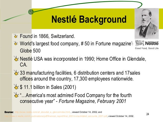 nestle was founded in 1866 management essay Nestlé was founded in 1866 by henri nestlé and is today the world's biggest food and beverage company sales at the end of 2005 were 91 billion, with a net profit of 8 billion nestlé employ around 250,000 people from more than 70 countries and have factories or operations in almost every country in the world.