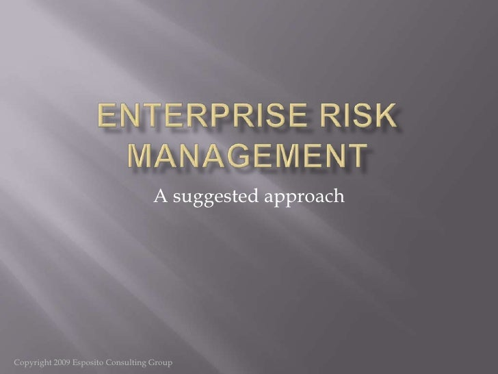 Enterprise Risk Management<br />A suggested approach<br />Copyright 2009 Esposito Consulting Group<br />