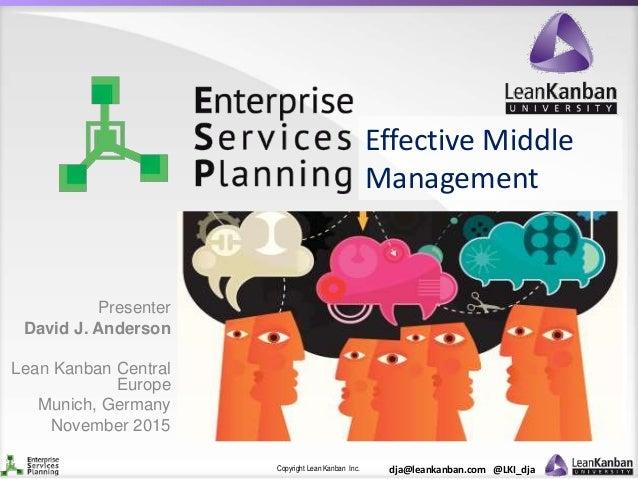 Copyright Lean Kanban Inc. dja@leankanban.com @LKI_dja Effective Middle Management Presenter David J. Anderson Lean Kanban...