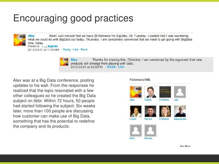 Encouraging good practicesAlex was at a Big Data conference, postingupdates to his wall. From the responses herealized tha...
