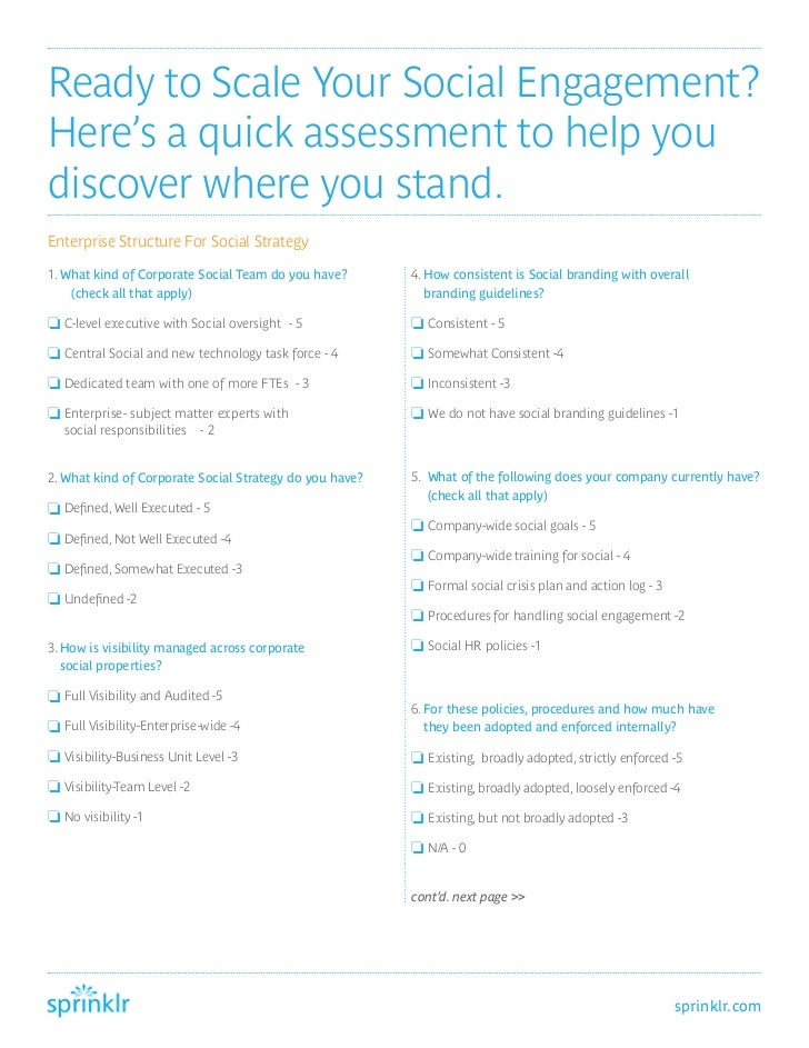 Ready to Scale Your Social Engagement?Here's a quick assessment to help youdiscover where you stand.Enterprise Structure F...