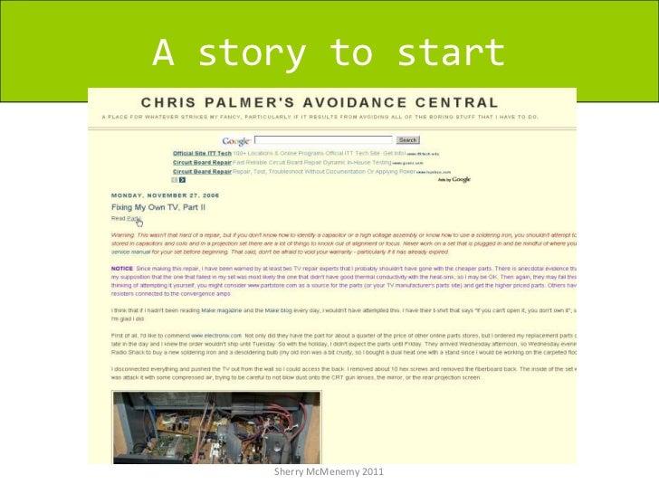 A story to start<br />Sherry McMenemy 2011<br />