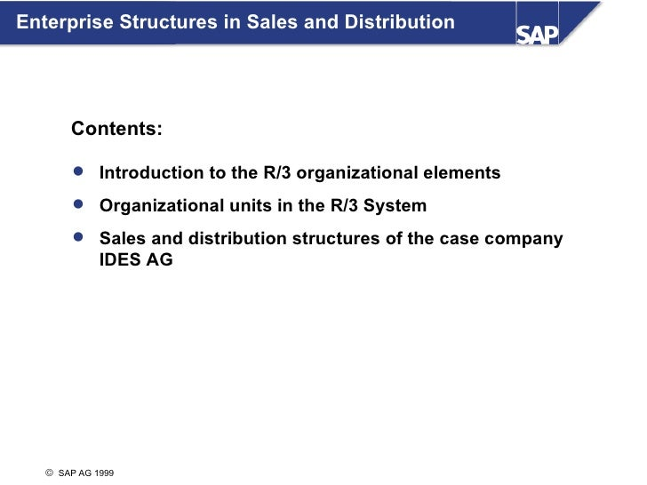 Enterprise Structures in Sales and Distribution            Contents:           Introduction to the R/3 organizational ele...