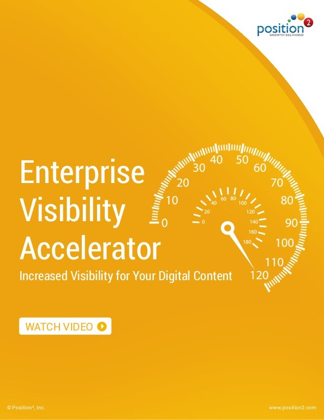 Enterprise Visibility Accelerator Increased Visibility for Your Digital Content © Position², Inc. www.position2.com WATCH ...