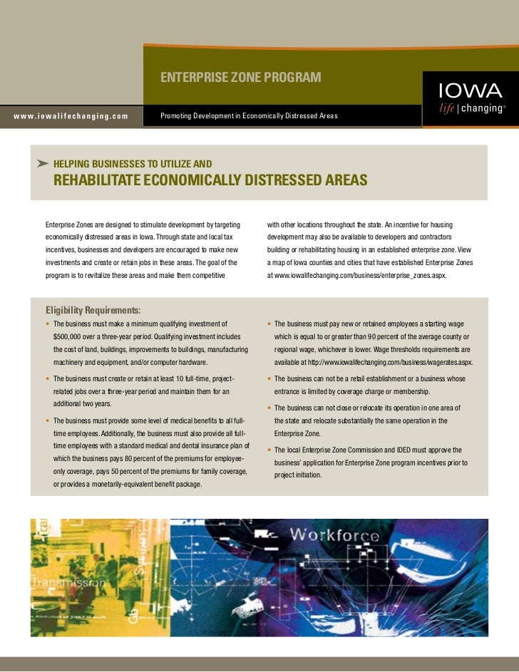 ENTERPRISE ZONE PROGRAM                                         Promoting Development in Economically Distressed Areas  HE...