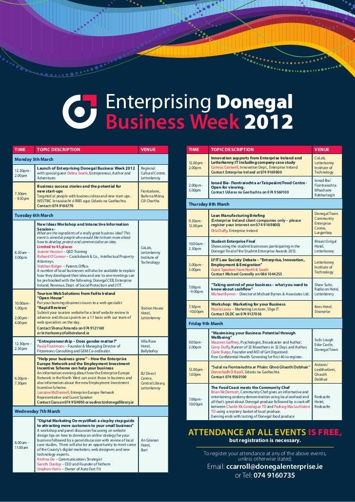 Enterprising Donegal                                                       Business WeekTime        Topic DescripTion     ...