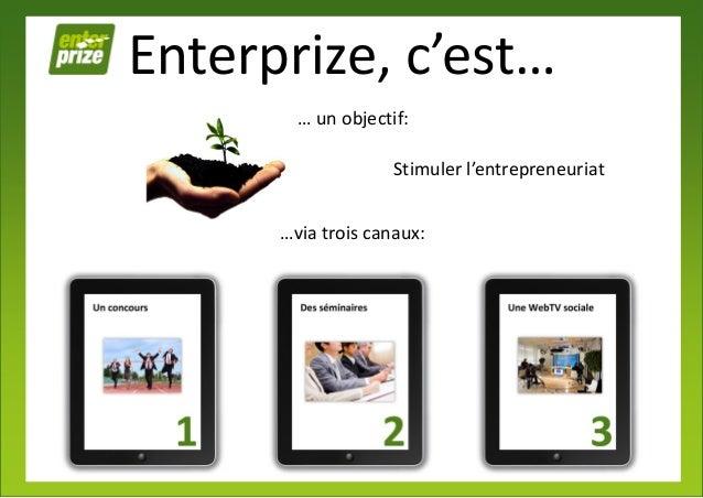 Enterprize, c'est…        … un objectif:                    Stimuler l'entrepreneuriat      …via trois canaux: