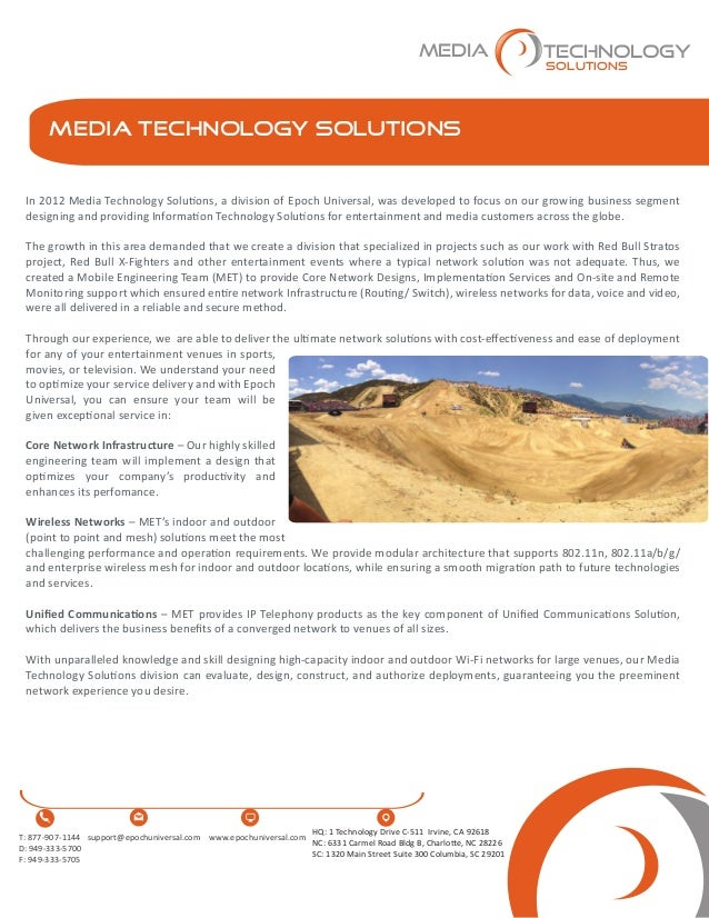 Media Technology Solutions In 2012 Media Technology Solutions, a division of Epoch Universal, was developed to focus on ou...