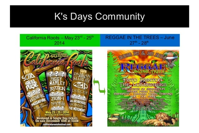 K's Days Community California Roots – May 23rd - 25th 2014 REGGAE IN THE TREES – June 27th - 28th