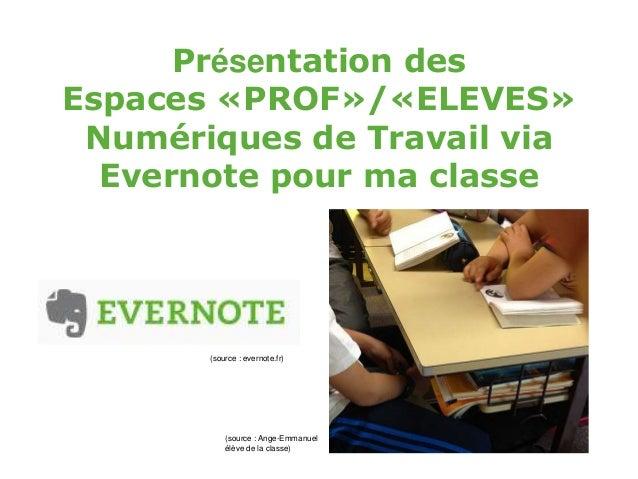 Présentation des Espaces «PROF»/«ELEVES» Numériques de Travail via Evernote pour ma classe (source : evernote.fr) (source ...