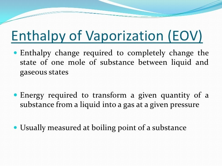 enthalpy of vaporization of water lab