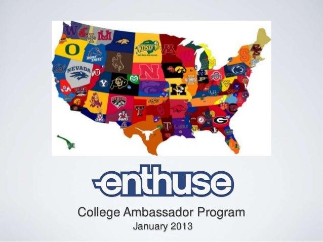 College Ambassador Program        January 2013