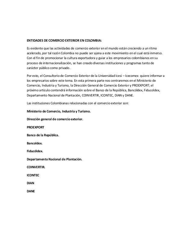 Entidades de comercio exterior en colombia for De comercio exterior