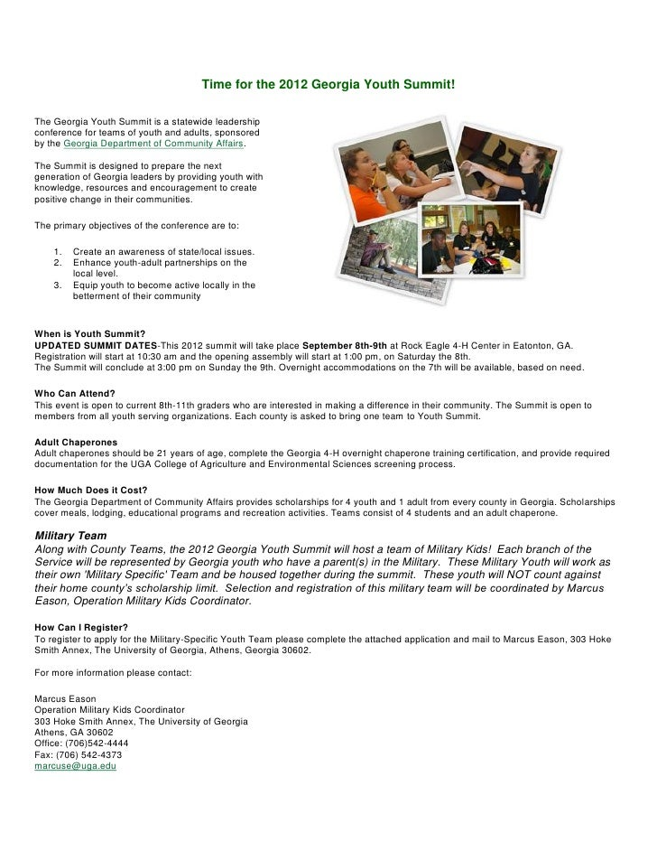 Time for the 2012 Georgia Youth Summit!The Georgia Youth Summit is a statewide leadershipconference for teams of youth and...
