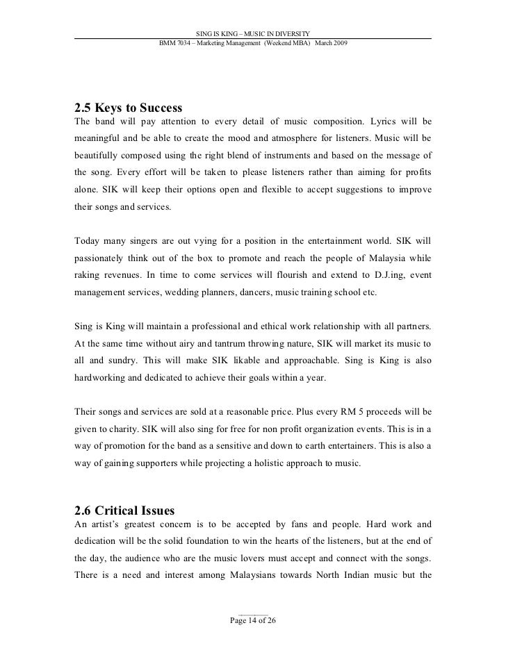 Marketing Plan Example Marketing Plan For Small Business Template